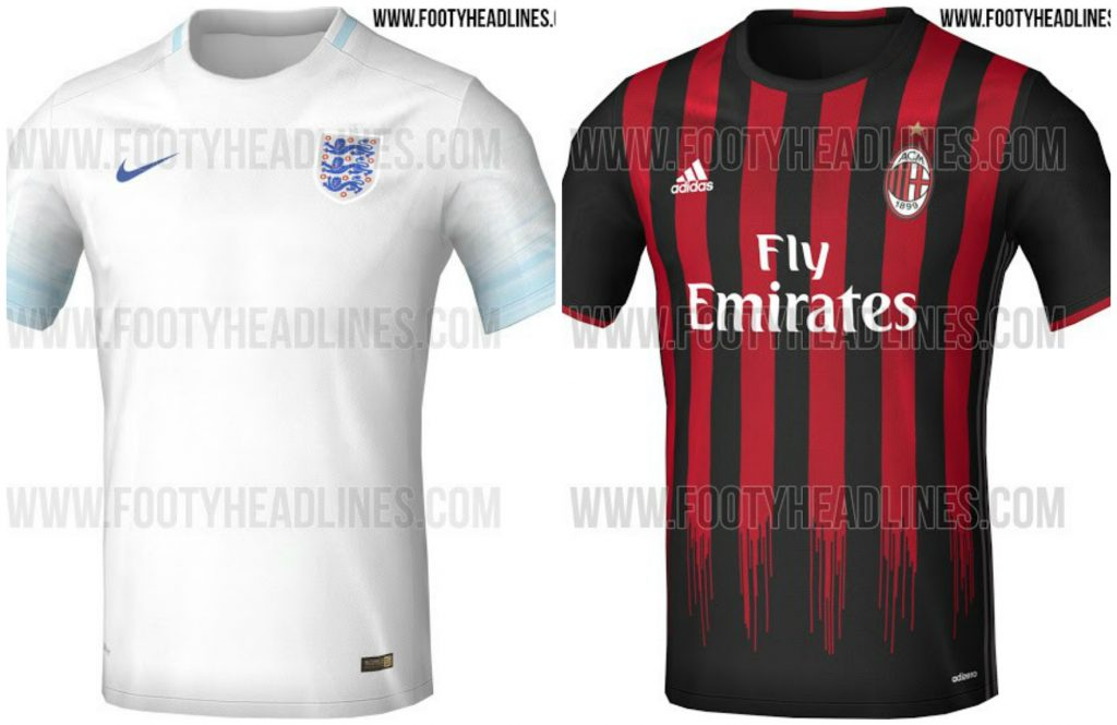 Camisas da seleção da Inglaterra e do Milan estão entre as vazadas pelo  tradicional site de uniformes ... 33c0135dfcd6f