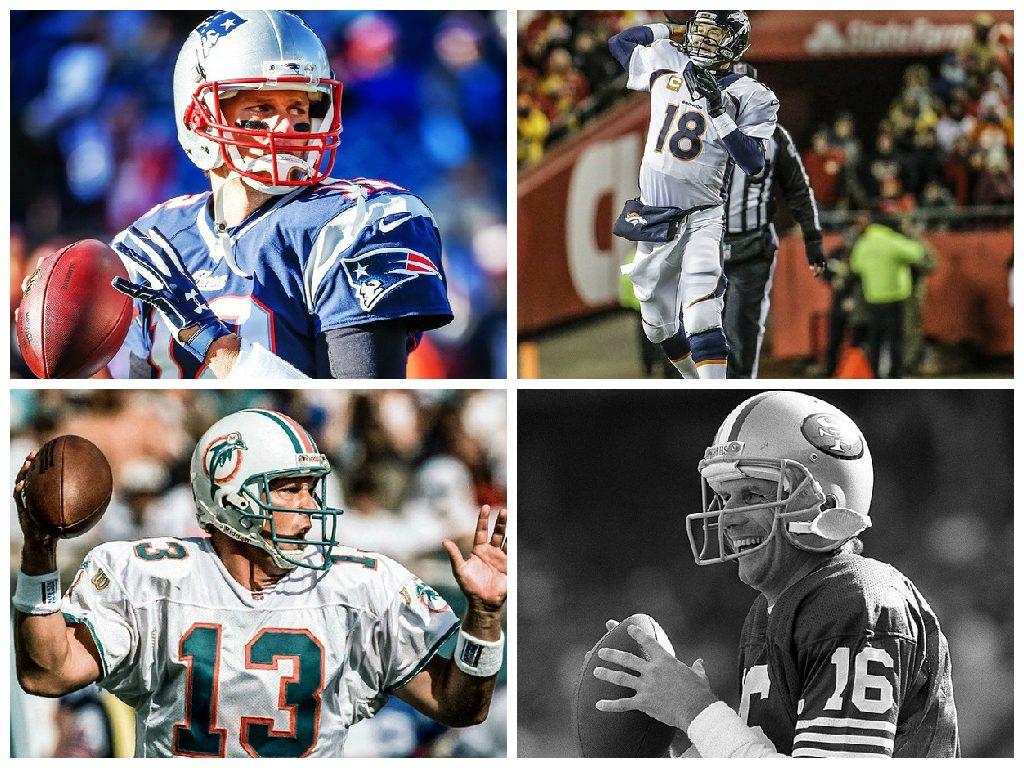 Conheça os sete melhores quarterbacks da história do futebol americano  profissional. Montagem - Melhores quarterbacks da NFL 6dc73cc659e16