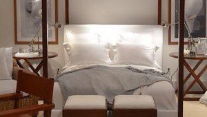 A cabeceira da cama é a moldura do quarto