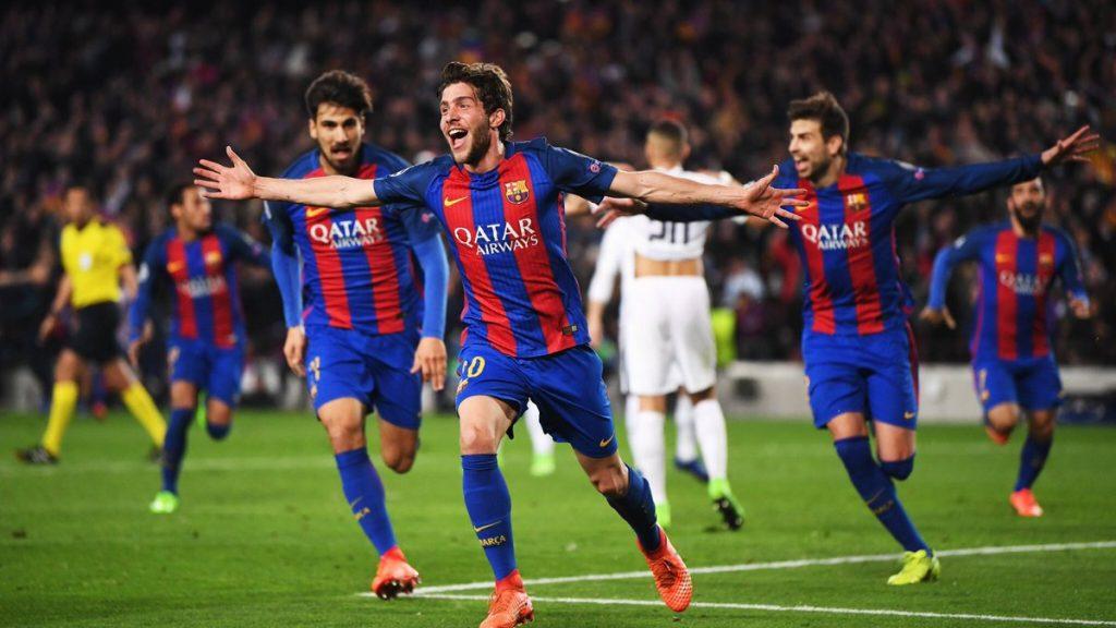 Sergi Roberto comemora o gol da impressionante classificação do Barcelona sobre o PSG