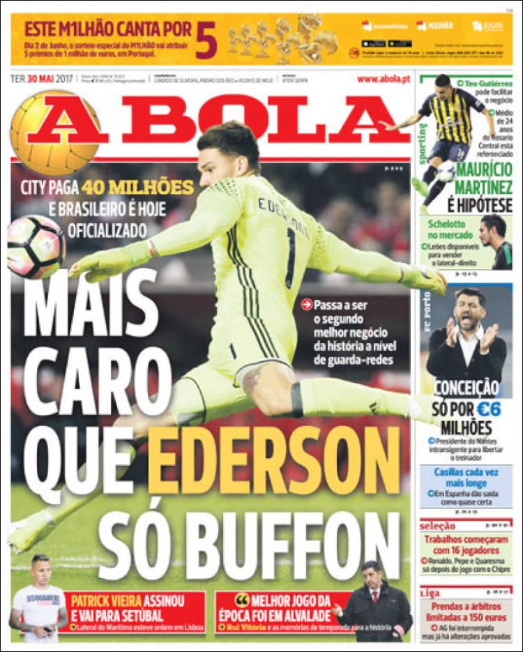 Saída milionária de Ederson ao City é destaque em jornal português ... d17c9089518db