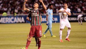 Pedro comemora o gol salvador do Fluminenes ante a LDU, pela Copa Sul-Americana