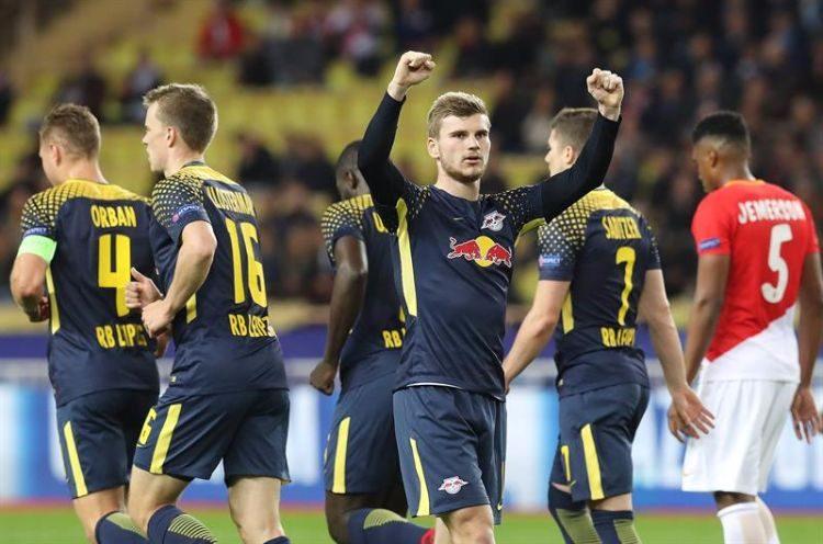 Timo Werner, Red Bull Leipzig, celebra o gol anotado ante o Monaco
