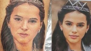 Como homenagem, fã tatua rosto de Bruna Marquezine na perna