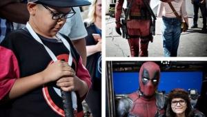 """Ryan Reynolds recebe crianças no set de """"Deadpool 2"""""""