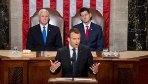Macron discursa no Congresso americano e se opõe a pontos que levaram Trump ao poder