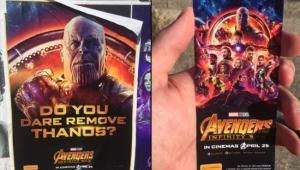 """Ingressos de """"Vingadores: Guerra Infinita"""" são escondidos atrás de pôsteres na Austrália"""