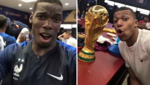 """Jogadores da França comemoram título com champanhe, música e fazem até Macron """"dançar"""""""
