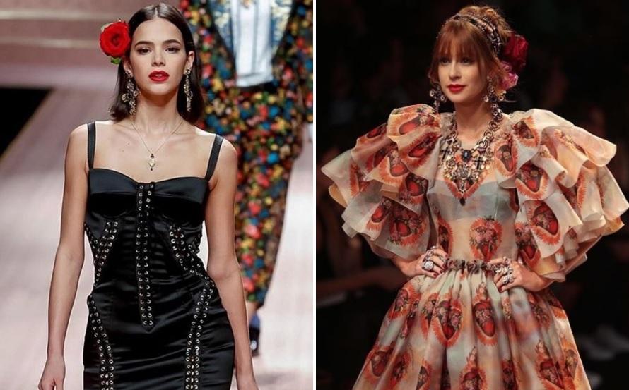 36d9efe9eef41 Reprodução  Instagram Brasileiras cruzaram a passarela no último dia da  semana de moda de Milão. A grife italiana Dolce   Gabbana ...