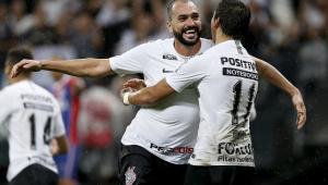 Comemoração do segundo gol do Corinthians, marcado por Danilo durante o jogo entre Corinthians e Bahia realizado na Arena Corinthians, Zona Leste de São Paulo. A partida é válida pela 31ª rodada do Campeonato Brasileiro 2018