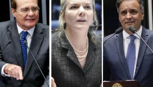 O senador eleito Renan Calheiros (MDB-AL) e os deputados federais Gleisi Hoffmann (PT-PR) e Aécio Neves (PSDB-MG)
