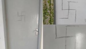 Portas de alojamentos estudantis da USP amanhecem pichadas com suástica