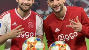 Jogadores do Ajax comemoram ao saber que vão enfrentar o Real Madrid