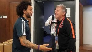 Ídolo! Zico é tietado por Marcelo e técnico do Real antes de jogo: 'Ele era incrível'
