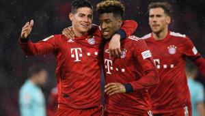 James Rodríguez marca três vezes, Bayern goleia e reassume liderança do Alemão