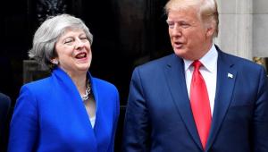 O presidente dos Estados Unidos, Donald Trump, se reuniu nesta terça-feira (4) com a primeira-ministra britância, Theresa May