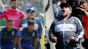 Em estreia em novo time, Maradona é festejado, posa com jogadores, mas sofre com 'frango'