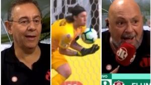 Veja como Nilson Cesar e Flavio Prado reagiram ao frango de Cássio contra o Fluminense