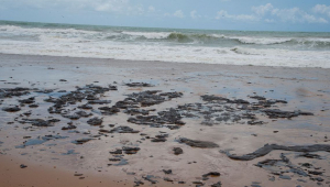 Presos ajudam na limpeza de óleo que chega à foz do Rio Jaboatão, em PE