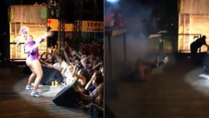 Gaby Amarantos cai durante 'bate cabelo' em show e leva pontos na cabeça